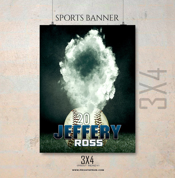 Jeffery Ross-Baseball- Enliven Effects Sports Banner Photoshop Template - Photography Photoshop Template