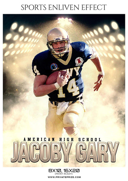 Jocoby Gary - Football Sports Enliven Effect Photography Template - Photography Photoshop Template