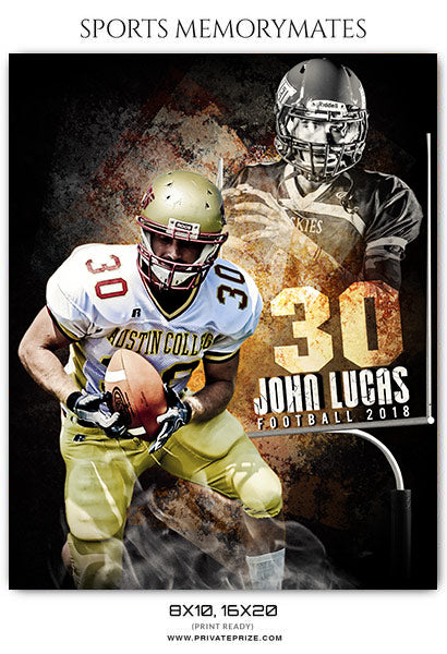 John Lucas - Football Sports Memory Mates Photography Template - Photography Photoshop Template