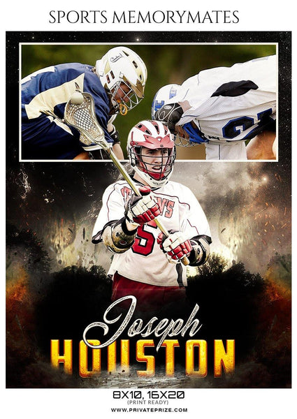 Joseph Houston - Lacrosse Sports Memory Mate Photoshop Template