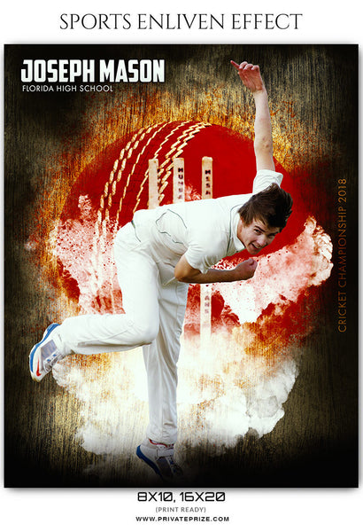 Joseph Mason - Cricket Sports Enliven Effects Photoshop Template - Photography Photoshop Template