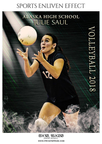 Julie Saul - Volleyball Sports Enliven Effects Photoshop Template - Photography Photoshop Template