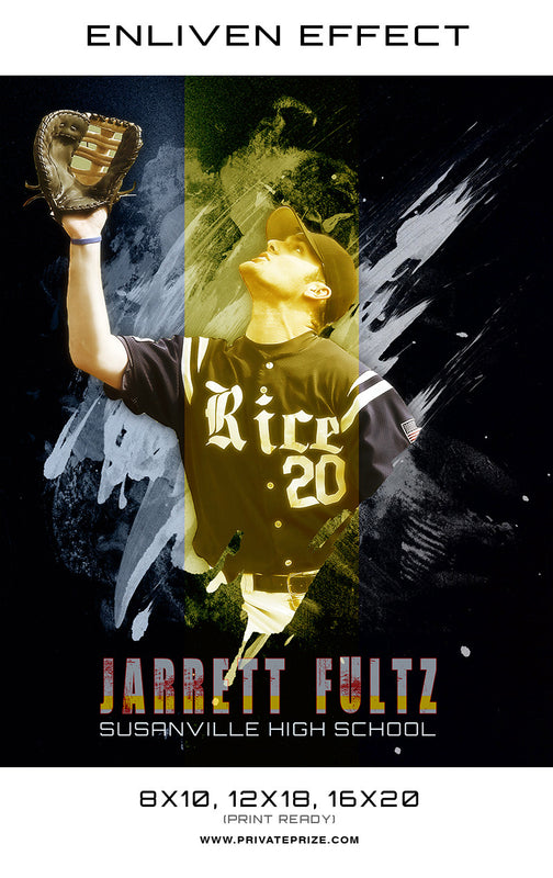 Jarrett Baseball High School Sports - Enliven Effects - Photography Photoshop Template