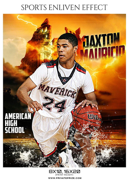 Jaxton Mauricio - Basketball Sports Enliven Effect Photography Template