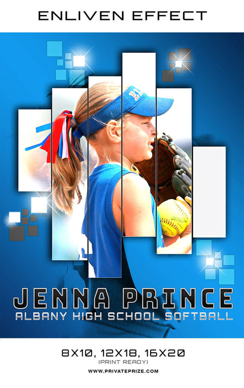 Jenna Albany High School Sports Template -  Enliven Effects - Photography Photoshop Template