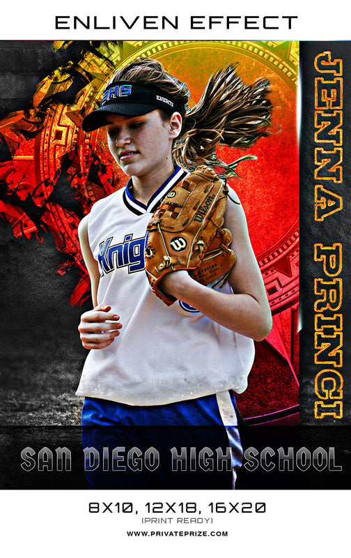 Jenna San Diego High School Softball Sports Template -  Enliven Effects - Photography Photoshop Templates