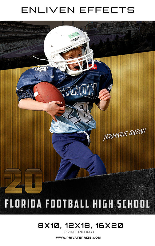 Jermaine Florida Football High School - Enliven Effects - Photography Photoshop Template