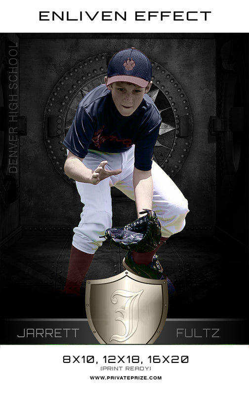 Jerrett Baseball Denver High School Sports Template -  Enliven Effects - Photography Photoshop Templates
