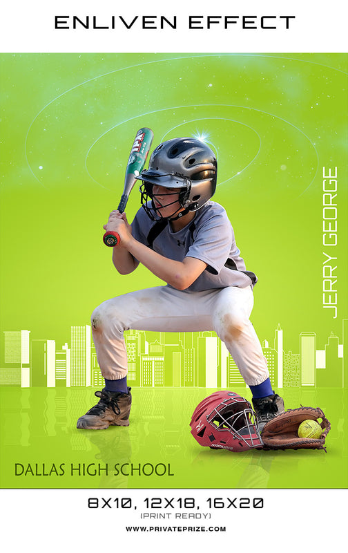 Jerry Dallas High School Baseball Sports Template -  Enliven Effects - Photography Photoshop Templates