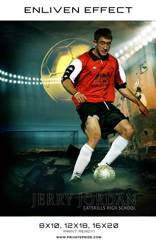 Jerry Soccer Catskills High School Sports Template -  Enliven Effects - Photography Photoshop Template