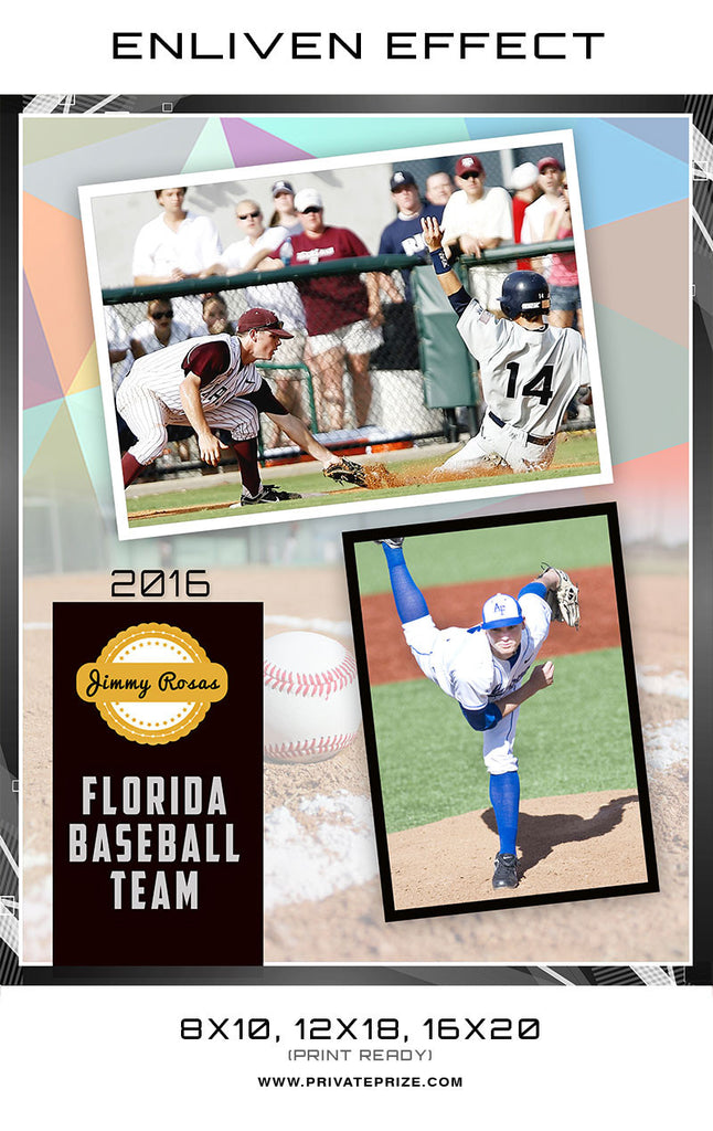 Jimmy Florida Baseball Team Sports Template -  Enliven Effects - Photography Photoshop Templates