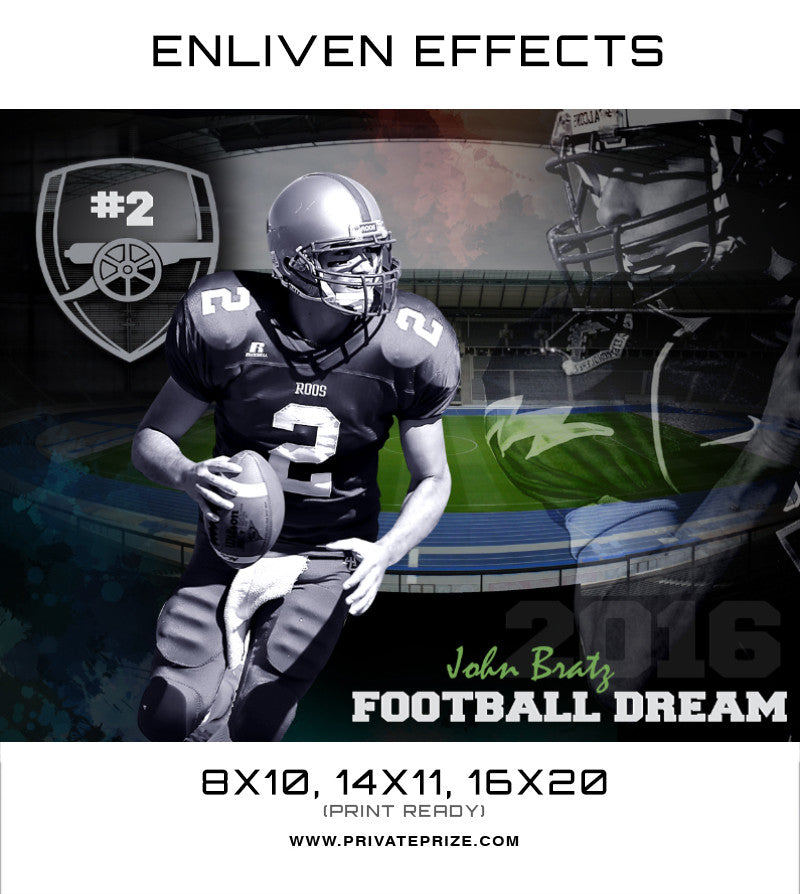John Bratz Football Dream Sports Template -  Enliven Effects - Photography Photoshop Templates