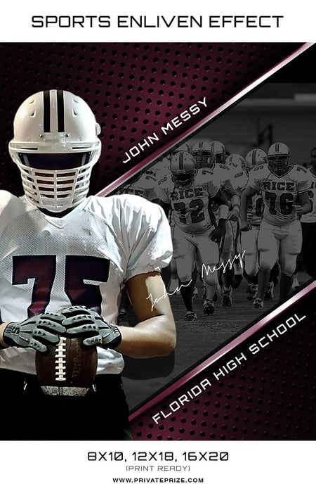 John Football Florida High School Sports Template -  Enliven Effects (Open Layer) - Photography Photoshop Template