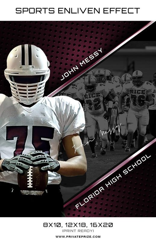John Football Florida High School Sports Template -  Enliven Effects - Photography Photoshop Templates