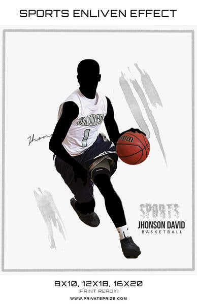 Johnson Basketball Brush Stroke Sports Template -  Enliven Effects - Photography Photoshop Template
