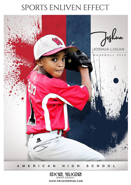 Joshua Logan Baseball Sports  Enliven Effects Photography Template