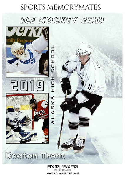 Keaton Trent - Ice Hockey Sports Memory Mates Photography Template - Photography Photoshop Template