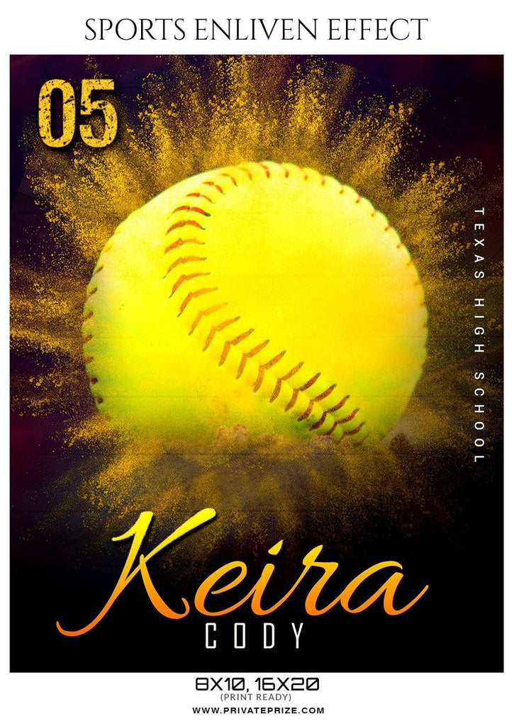 Keira Cosy - Softball Sports Enliven Effects Photography Template