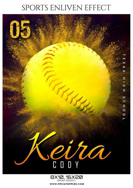 Keira Cosy - Softball Sports Enliven Effects Photography Template - Photography Photoshop Template