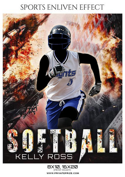 Kelly Ross - Softball Sports Enliven Effects Photography Template