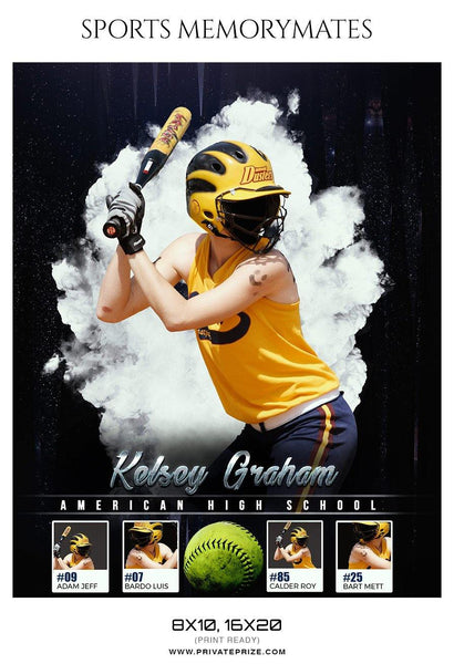 Kelsey Graham  - Softball Sports Memory Mates Photography Template