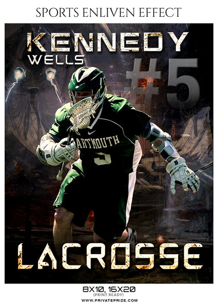 Kennedy Wells - Lacrosse Sports Enliven Effects Photoshop Template - Photography Photoshop Template