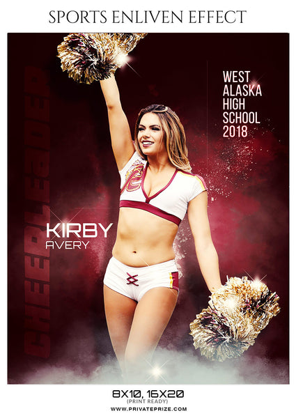 Kirby Avery - Cheerleader Sports Enliven Effect Photoshop Template - Photography Photoshop Template