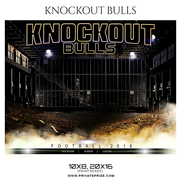 KNOCKOUT BULLS FOOTBALL Themed Sports Photography Template