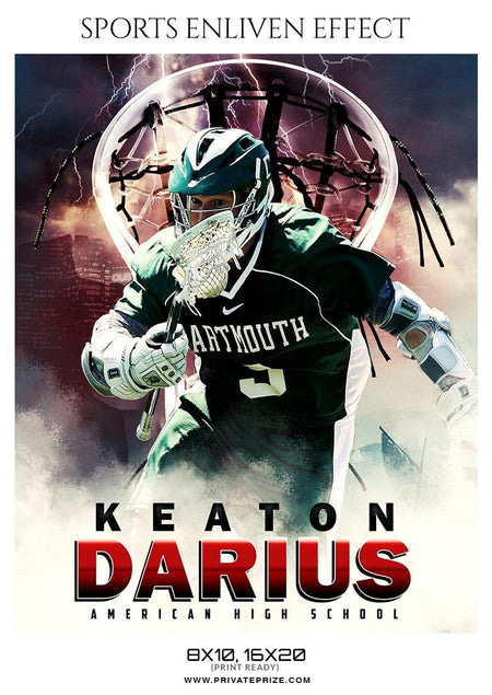 Keaton Darius - Lacrosse Sports Enliven Effects Photography Template - Photography Photoshop Template