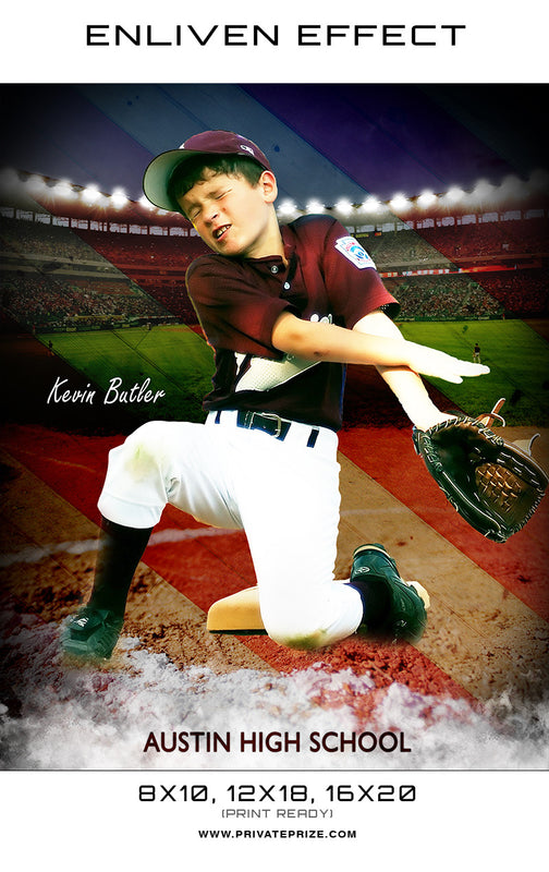 Kelvin Austin High School Baseball Sports Template -  Enliven Effects - Photography Photoshop Templates