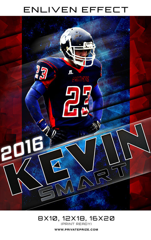 Kevin Smart Football Sports Template -  Enliven Effects - Photography Photoshop Template