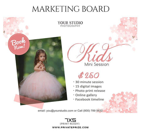 Kids - Mini Session Flyer Template for Photographers - Photography Photoshop Template