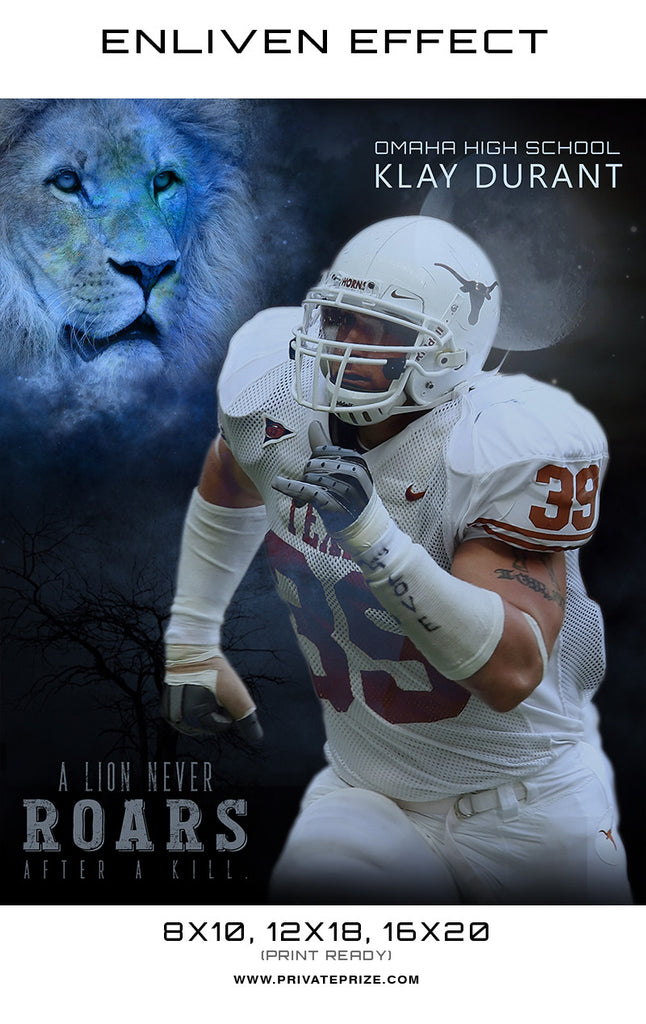 Klay Football - Lion Never Roar Sports Template -  Enliven Effects - Photography Photoshop Templates