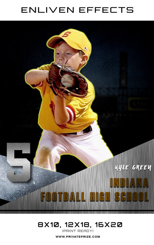 Kyle Indiana Baseball High School - Enliven Effects - Photography Photoshop Template