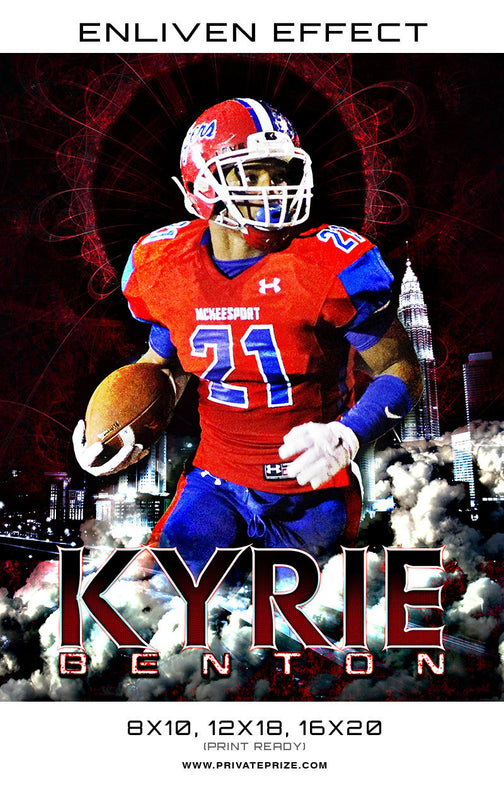 Kyrie Benton Football Template Sports Template -  Enliven Effects - Photography Photoshop Template