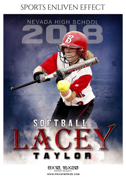Lacey Taylor - Softball Sports Enliven Effects Photography Template - Photography Photoshop Template