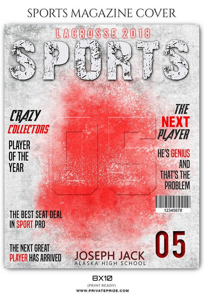 Lacrosse Sports Photography Magazine Cover - Photography Photoshop Template