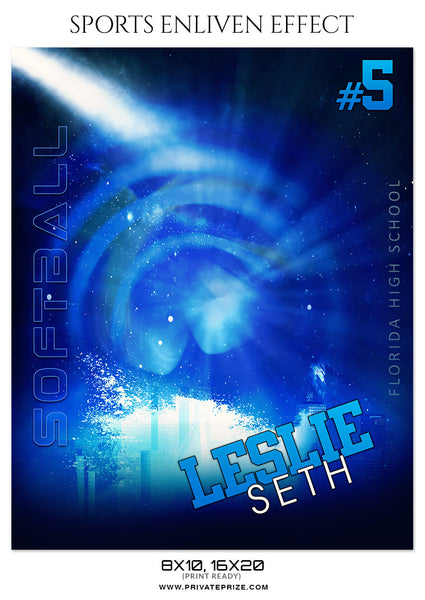 LESLIE SETH-SOFTBALL - SPORTS ENLIVEN EFFECT - Photography Photoshop Template