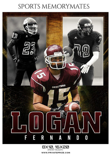 Logan Fernando - Football Memory Mate Photoshop Template - Photography Photoshop Template