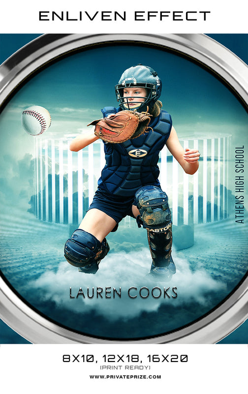 Lauren Softball Athens High School Sports Template -  Enliven Effects - Photography Photoshop Template