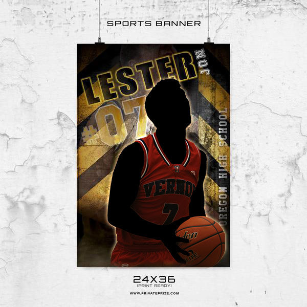 LESTER JON - 24X36 -Basketball-Enliven Effects Sports Banner Photoshop Template