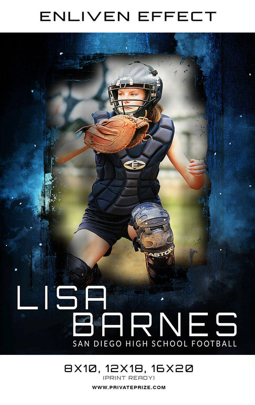 Lisa San Diego High School Softball Sports Template -  Enliven Effects - Photography Photoshop Template