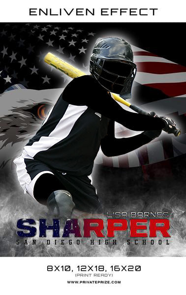 Lisa Sharper - Softball Enliven Effects Sports Photography Templates - Photography Photoshop Template