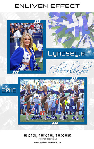 Lyndsey Cheerleader - Enliven Effects Photoshop Template - Photography Photoshop Templates