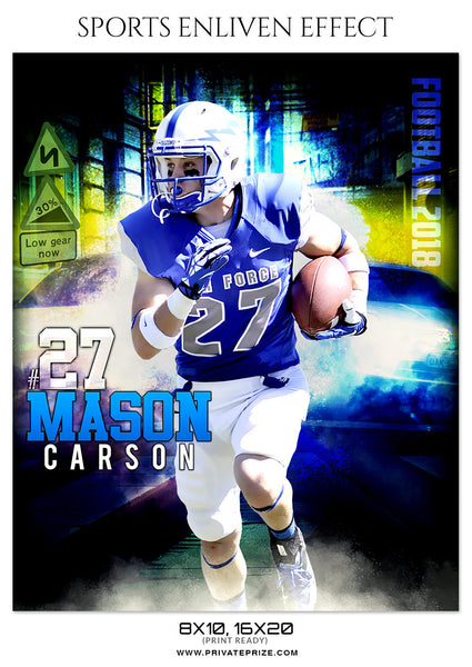 MASON CARSON-FOOTBALL- SPORTS ENLIVEN EFFECT - Photography Photoshop Template