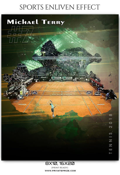 Michael Terry - Tennis  Sports Enliven Effect Photography Template - Photography Photoshop Template