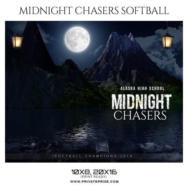 MIDNIGHT CHASERS Softball Themed Sports Photography Template - Photography Photoshop Template