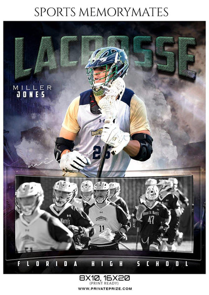 Miller Jones - Lacrosse Sports Memory Mate Photoshop Template