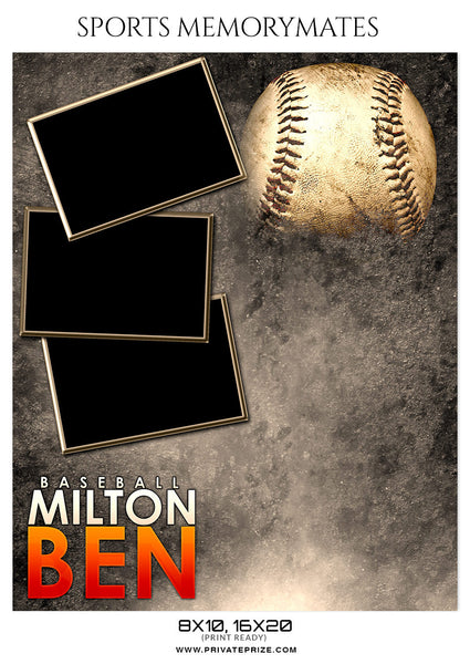 MILTON BEN BASEBALL - SPORTS MEMORY MATE - Photography Photoshop Template