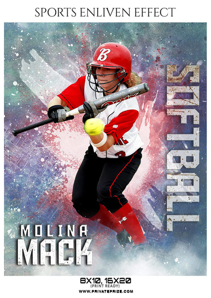Molina Mack - Softball Sports Enliven Effects Photoshop Template - Photography Photoshop Template